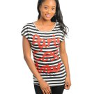 Ladies Black White Stripe Top Love Top Paris Short Sleeve Juniors S