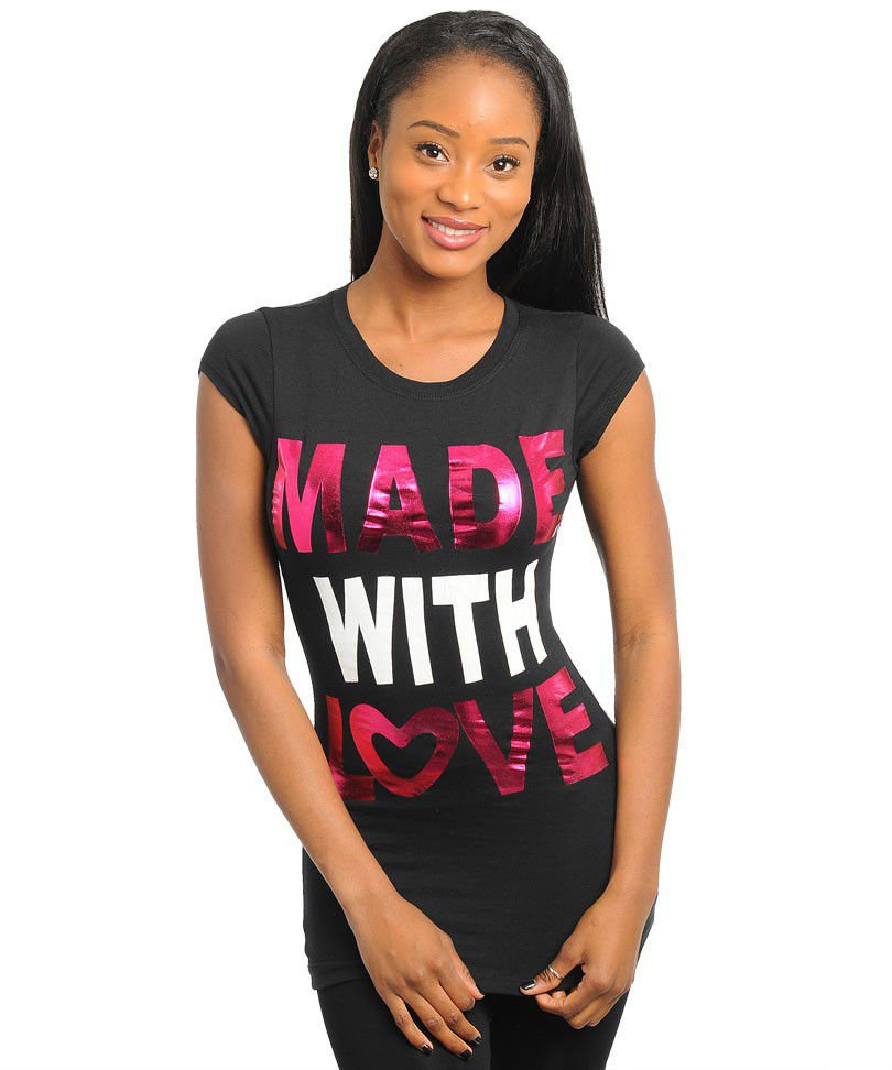 Ladies Love Tshirt Black T-Shirt Made with Love Black Top Cap Sleeve Juniors L