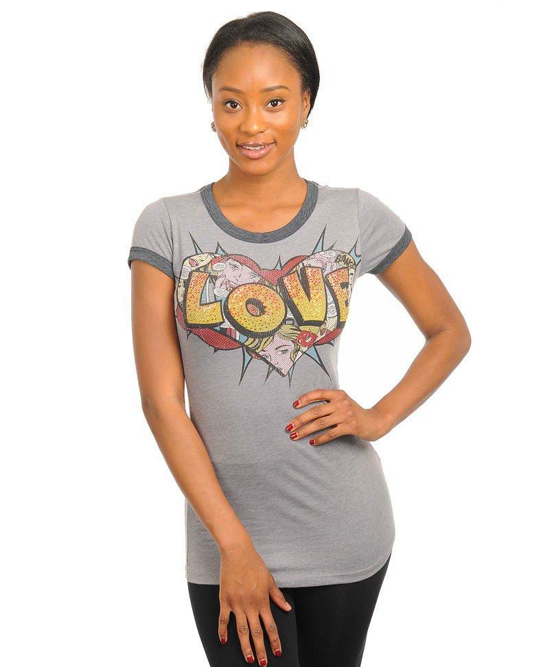 Love Top Gray Comic Book Print T-Shirt Gray Cartoon Top Short Sleeve Junior L