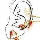 New Red and Gold High Heel Shoe Earrings Shoe Ear Cuff Earrings Red Earrings
