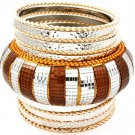 Chunky Silver Brown Bangle Bracelets Multi Layer Bangles Gold Bangles 3 inches