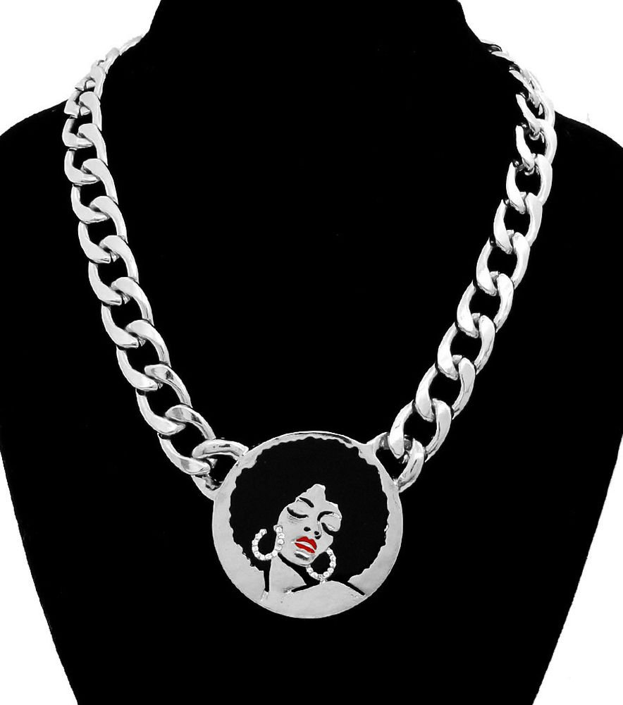 Silver Afro Lady Necklace Afro Diva Pendant Necklace Statement Chain Necklace
