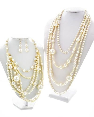 2 in 1 Pearl Necklace Chunky Cream Pearl Necklace Pearl Earrings Set Long Pearls
