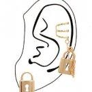 Gold Key Lock Cuff Earrings Gold Chain Ear Cuff Earrings Gold Earrings