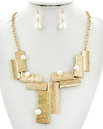 Gold Chain Faux Cream Pearl Asymmetrical Necklace Earrings Set Pearl Necklace