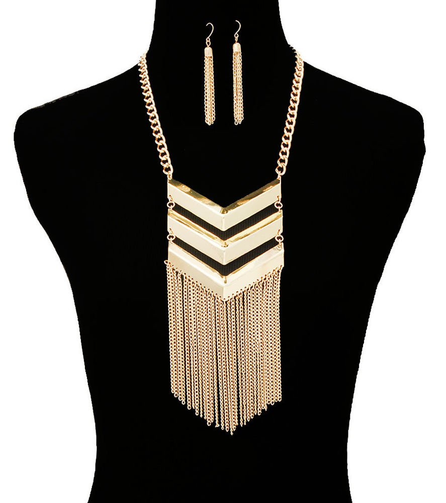 Gold Chevron Tassel Necklace Gold Chain Earrings Set Tribal Chevron Military