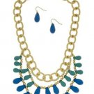 Blue Tear Drop Bead Necklace Earrings Set Gold Chain Blue Turquoise Necklace