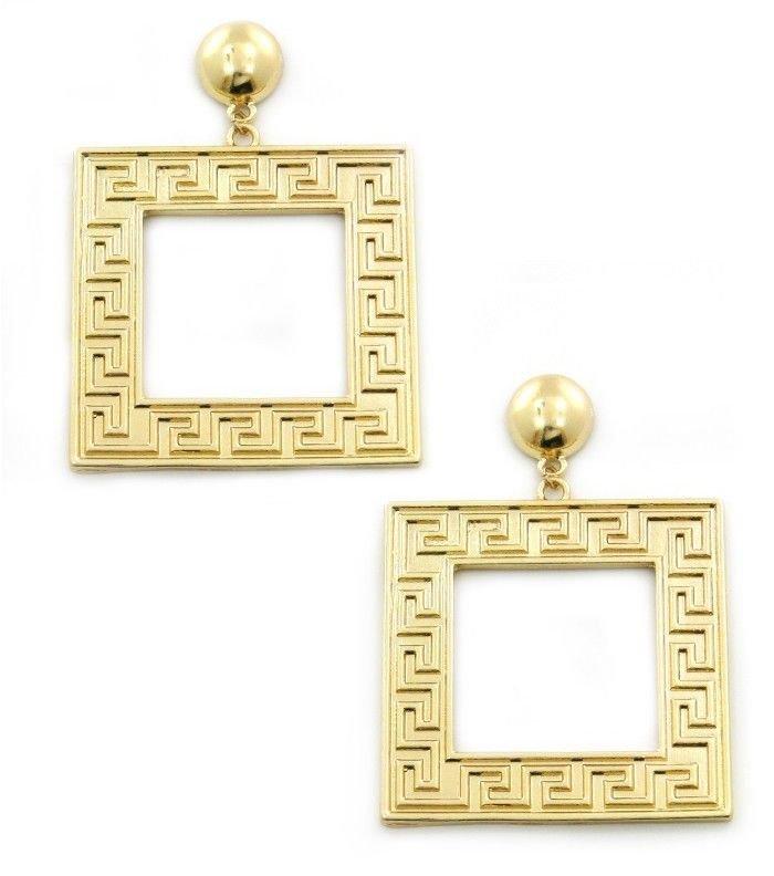 Large Gold Greek Key Earrings Gold Earrings Maze Pattern Earrings 3 inches