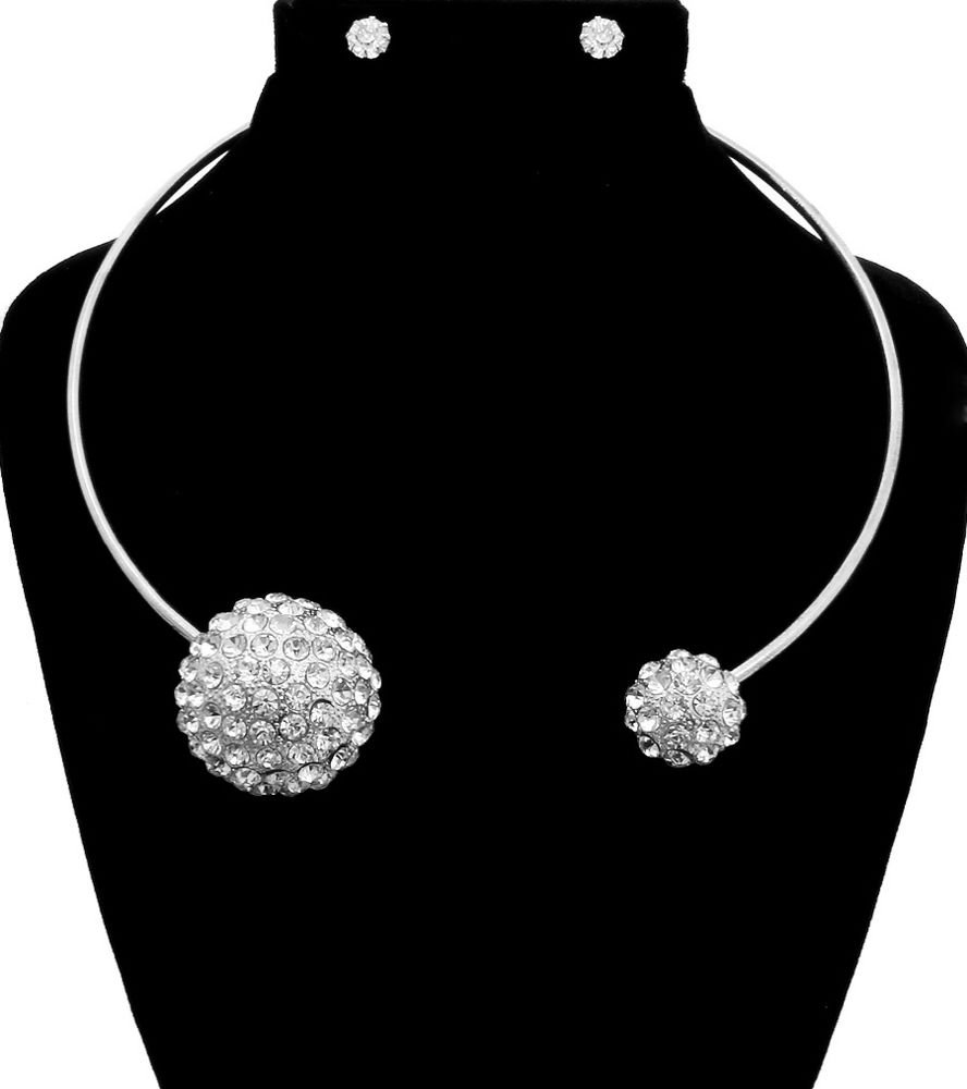 Silver Crystal Ball Necklace and Earrings Set Silver Necklace Silver Statement