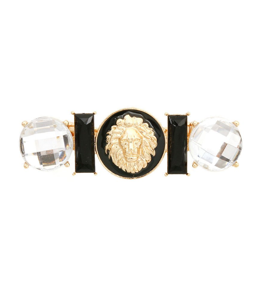Black Lion Head Ring Stretch Ring  Lion 3 Finger Ring w/stones Leo Lion