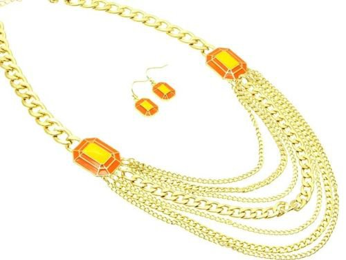 Gold Chain Necklace Orange and Yellow Necklace Earrings Set Gold Chain Link