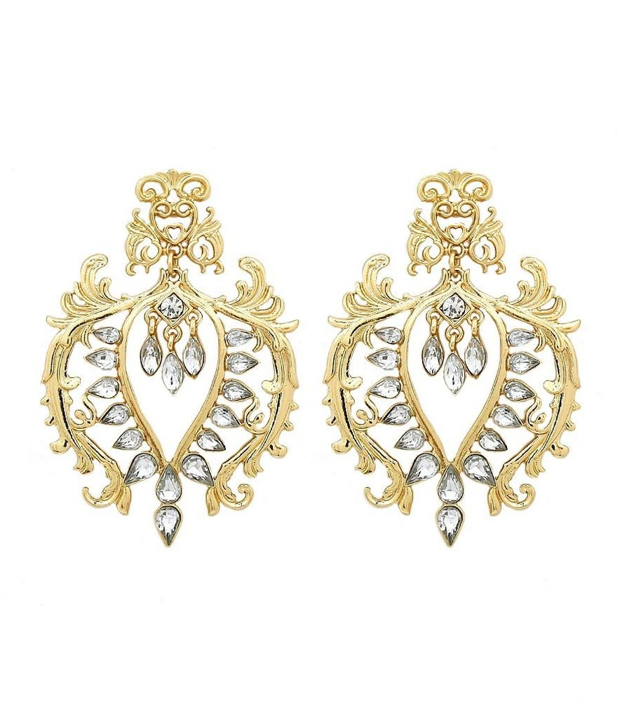 Statement Gold Baroque Earrings With Crystals Filigree Earrings Gold Earrings 3'