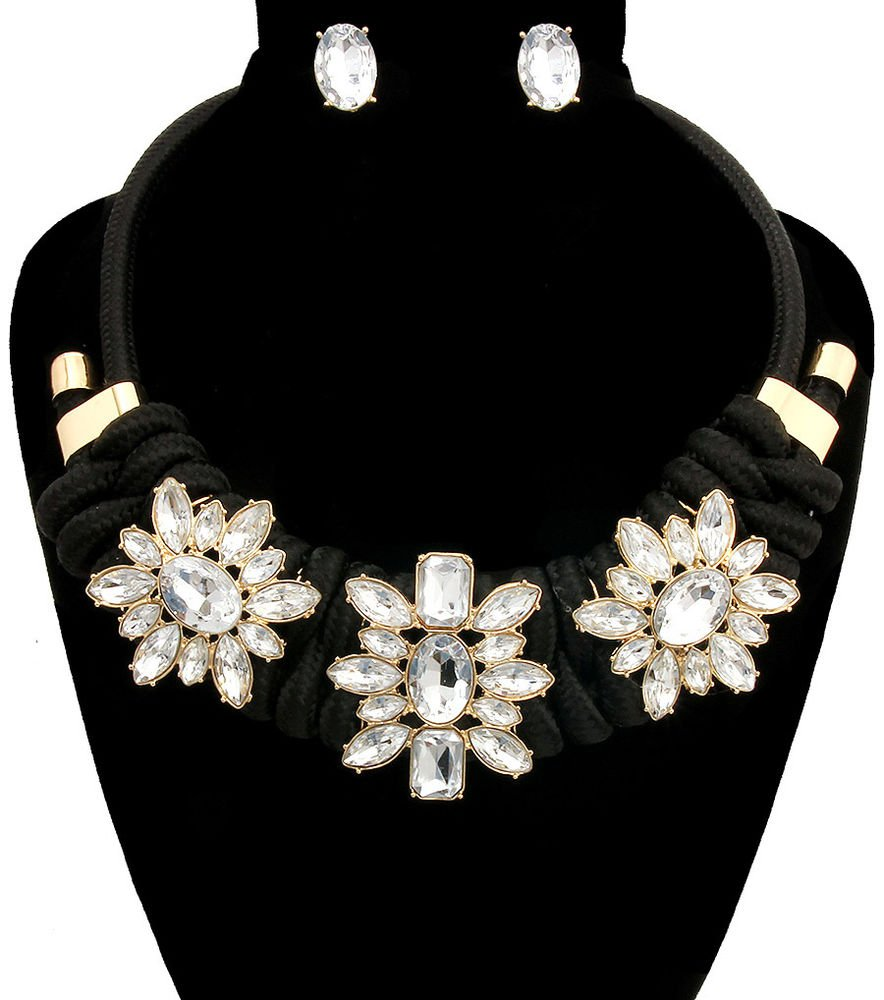 Braided Black Cord Necklace  Flower Clear Crystal Stone  Necklace Earrings Set