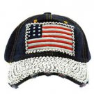 Bling American Flag Snapback Baseball Cap Blue Denim Baseball Cap One Size
