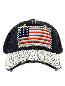 Bling American Flag Snapback Baseball Cap Blue Denim Baseball Cap One Size