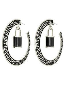 Black & Silver Greek Key Hoop Earrings with Lock Pendant Lock Hoop Earrings 3'