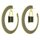 Black & Gold Greek Key Hoop Earrings with Lock Pendant Lock Hoop Earrings 3'
