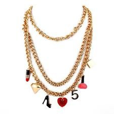 Gold Double Chain Lipstick Nail Polish Heel Shoe No. 5 Hear Pendant Necklace