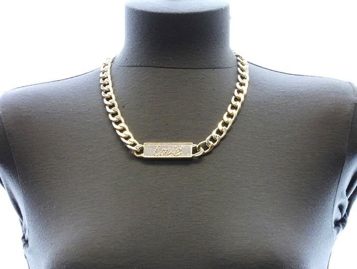 Gold Chain Love Necklace Earrings Set Gold Chain ID Plate Pendant Necklace