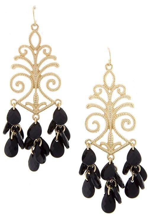 Black and Gold Earrings Baroque Design Earrings Black Earrings 3 inches