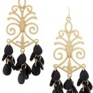 Black and Gold Earrings Baroque Design Earrings Black Earrings 3 inches