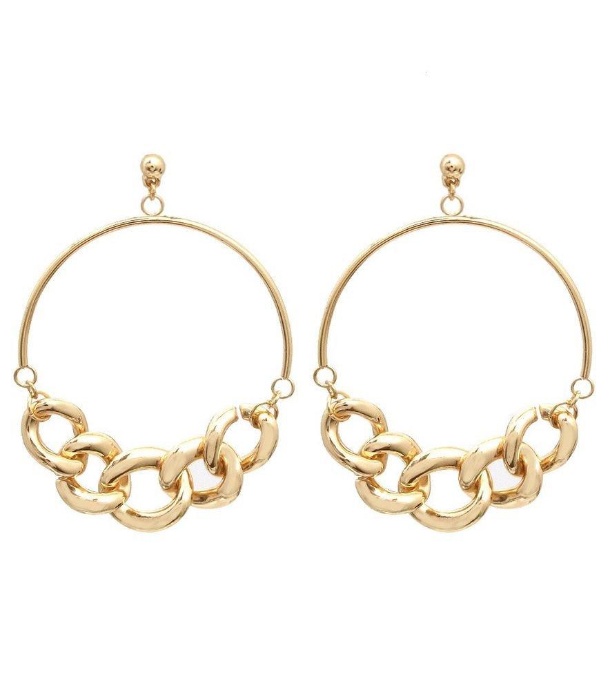 New Lightweight Gold Chain Hoop Earrings Gold Earrings Gold Hoop Earrings 3.1'