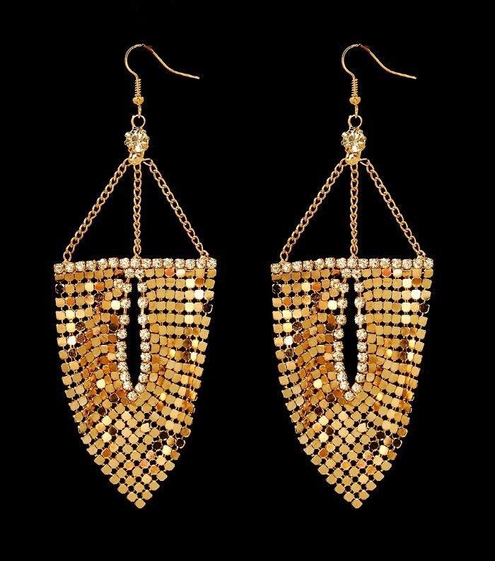 "Gold Chain Earrings with Crystal Gold Dangle Earrings Statement Earrings 4.5"""
