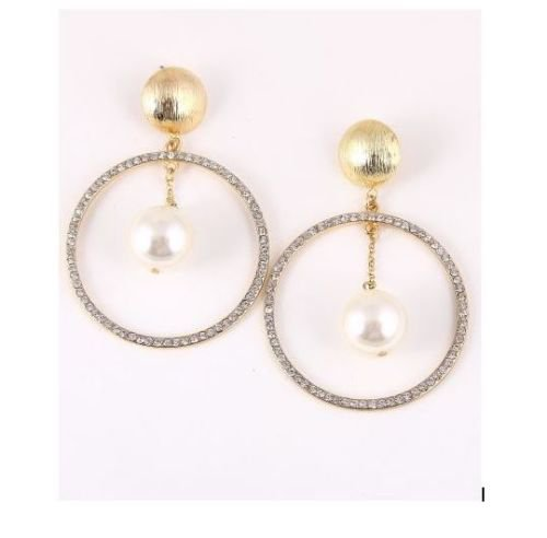 Crystal Rhinestone Earrings Imitation Pearl Earrings Hoop Earrings 3.37 inches