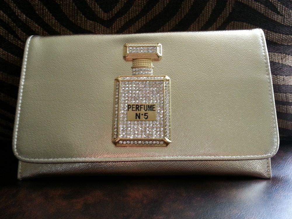 New Faux Leather Perfume Bottle Clutch Purse Gold Clutch Handbag Gold Purse