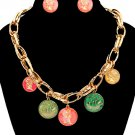 Charm Pendant Chunky Gold Chain Link & Multi Color Coin Necklace Earrings Set