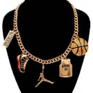 Basketball Theme Necklace Brooklyn Basketball Charm Pendant Jumpman Sneaker