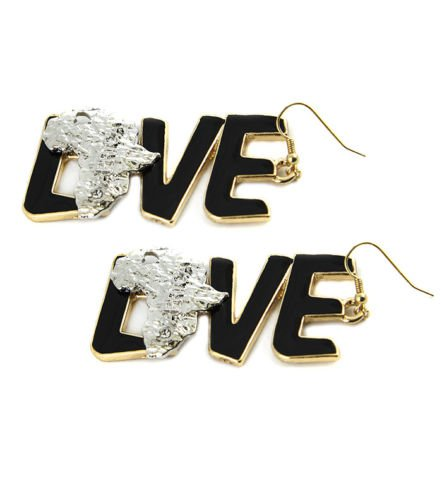 """Dangle Gold & Black Love Africa Earrings Silver Metal Statement Carved Map 3"""""""