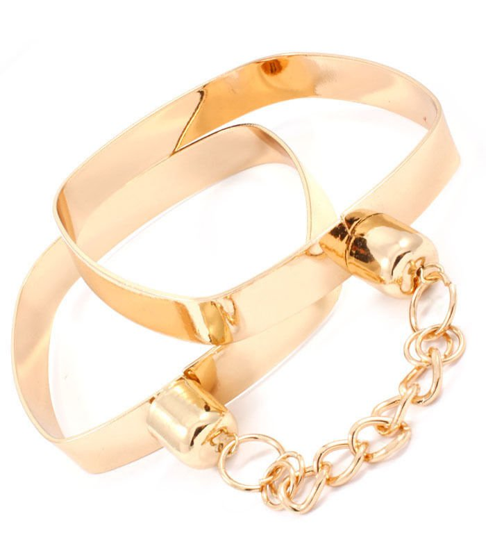Gold Handcuff Bracelets Chain Link Bracelets Gold Plated Bangles Fashion Jewelry