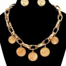Statement Charm Pendant Chunky Gold Chain Link and Coin Necklace Earrings Set