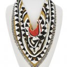 Statement Fabric & Bead Scarf Necklace Coral Brown White Black Tribal Necklace