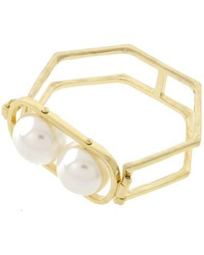 Gold Hexagon Chunky Pearl Bracelet Gold Bracelet Cream Pearl Geometric Bracelet