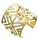 Gold and Pearl Cutout Cuff Bracelet Gold Cuff Bracelet Cream Pearl Cuff Bracelet