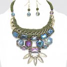 Glass Floral Necklace Earrings Set Olive Green Crochet Thread and Bead Necklace