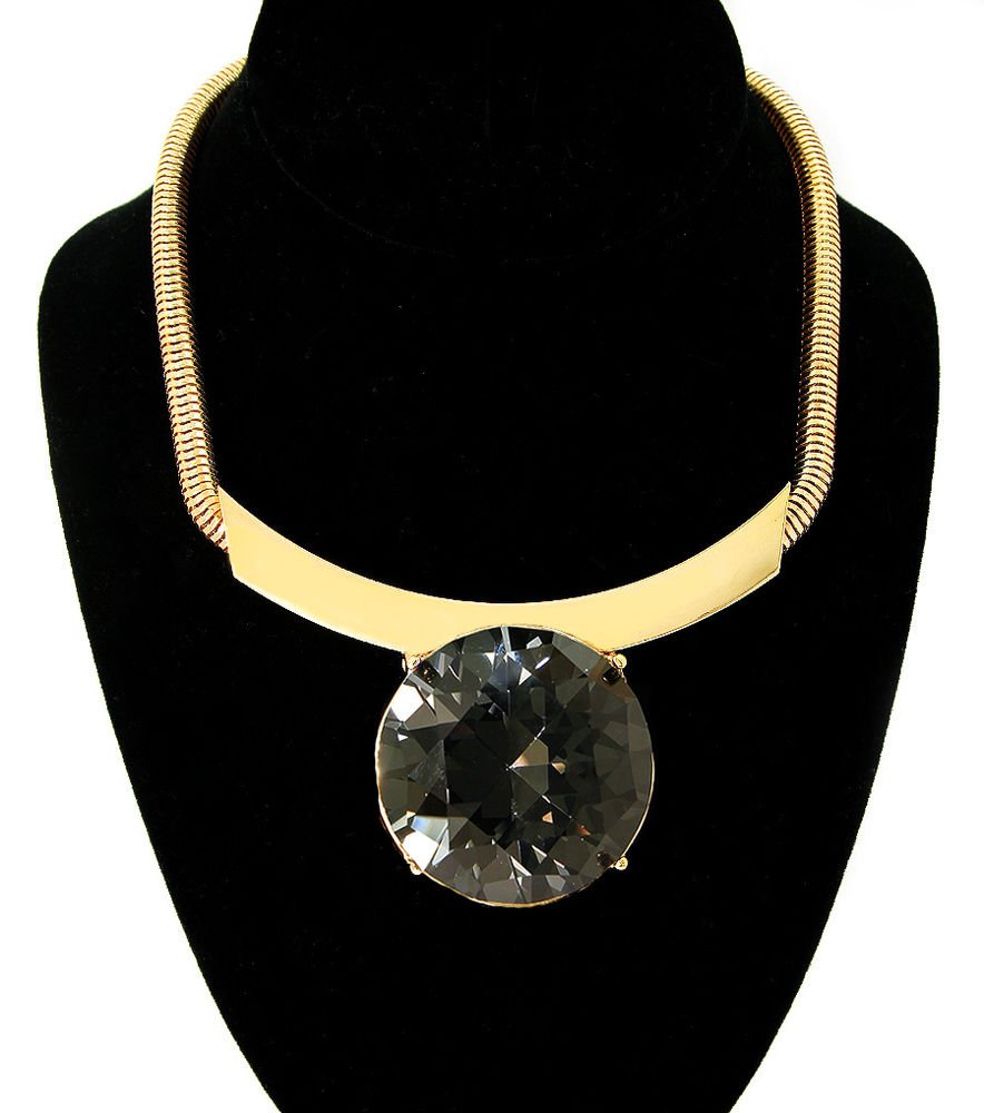 Bold Hematite Stone Gold Cocoon Chain Necklace Gold Chain Necklace Snake Chain