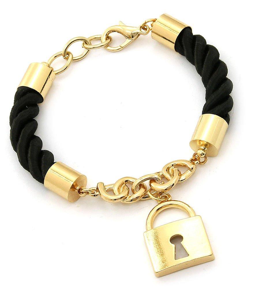 Black Rope and Gold Lock Bracelet Lock Pendant Bracelet Gold & Black Bracelet