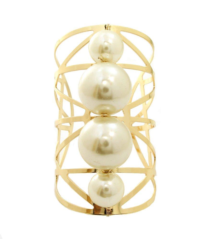 Chunky Pearl Cuff Bracelet Wide Gold Bracelet Chain Bracelet Gold Bangle