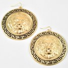 Round Gold Lion Head Black Greek Key Earrings Statement Lion Earrings Leo Lion 2