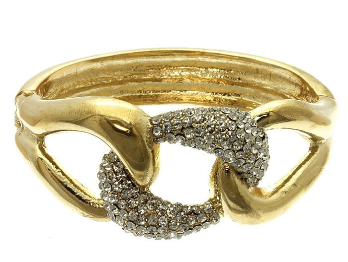 Gold Chunky Chain Bangle Bracelet Gold Bangle Gold Bracelet Rhinestone Bracelet