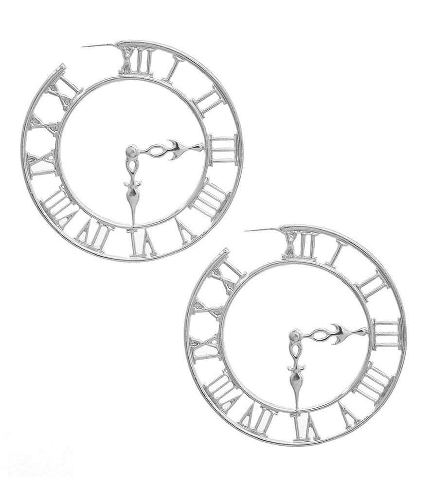 Statement Silver Roman Numeral Clock Earrings Roman Numeral Hoop Earrings 3'