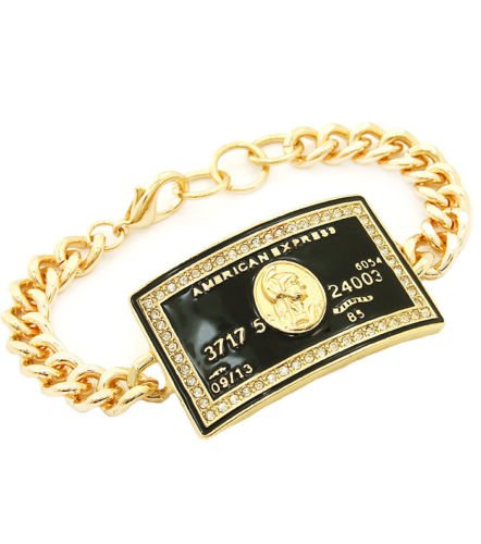 Gold Chain Credit Card Bracelet Gold & Black Bracelet Gold Bracelet Rhinestone
