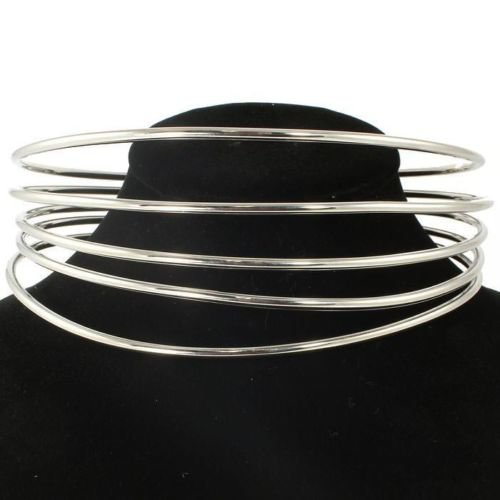 Trendy 5 Layer Silver Choker Statement Necklace Adjustable Silver Choker
