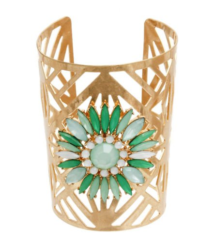 Mint Green Bead Burnished Gold Cut Out Cuff Bracelet Wide Gold Bracelet 3.5'