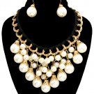 Black Ribbon Chunky Pearl Necklace Earrings Set Black Necklace Cream Pearls