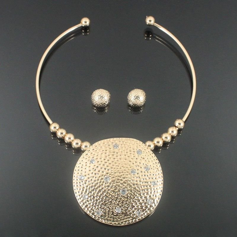 Gold Choker Necklace Set Large Hammered Round Pendant Necklace Earrings Set
