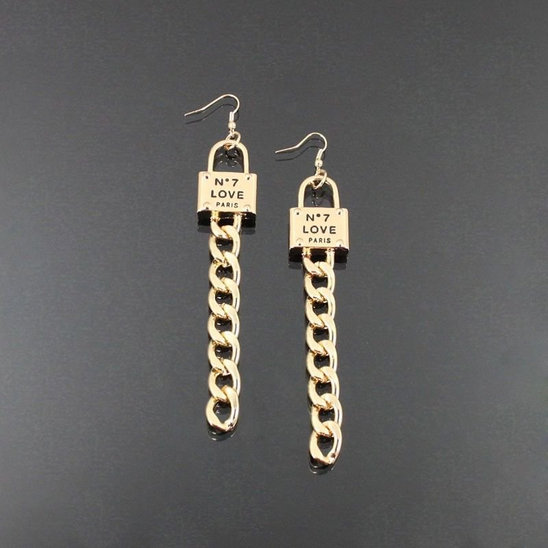 Long Gold Chain Earrings Love Lock Earrings Love Earrings Gold Earrings 4.75'